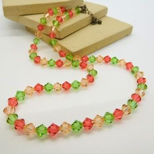 Retro Pink Peach Green Crystal Stretch Necklace